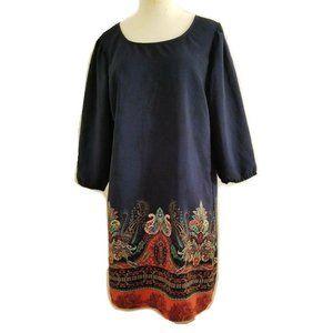 Bebop Women's 3/4 Sleeve Paisley Print Shift Dress
